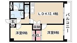 愛知県名古屋市緑区鳴海町赤松の賃貸マンションの間取り
