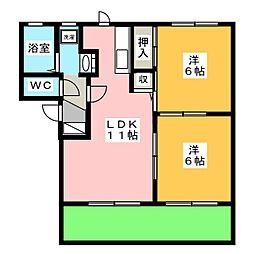 フローラ E[1階]の間取り