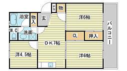 兵庫県姫路市北条口2丁目の賃貸マンションの間取り