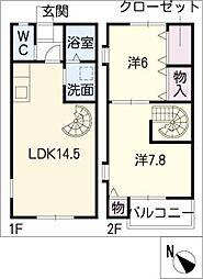 [タウンハウス] 愛知県名古屋市天白区高島1丁目 の賃貸【/】の間取り