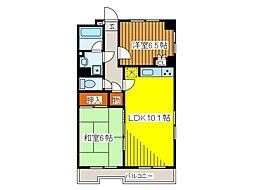 ローズマンション白糸台第3[4階]の間取り