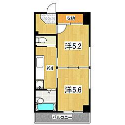 Kushige Gojo[414号室]の間取り