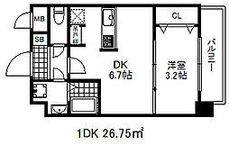 ソアシンナガタ 5階1DKの間取り