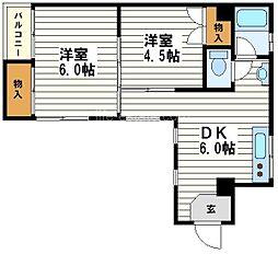 川原マンション[4階]の間取り