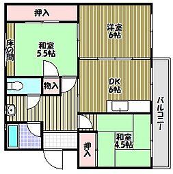 泉北桃山台第二団地32号棟[2階]の間取り