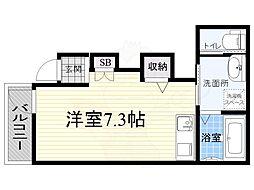 近鉄南大阪線 河内天美駅 徒歩17分の賃貸アパート 2階ワンルームの間取り