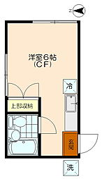 三軒茶屋アサカコーポ[103号室]の間取り