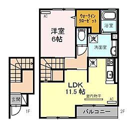JR和歌山線 岩出駅 徒歩17分の賃貸アパート 2階1LDKの間取り