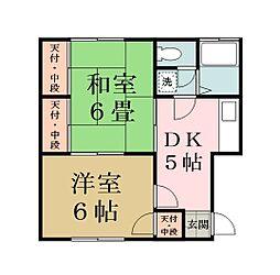 布川コーポ[202号室]の間取り