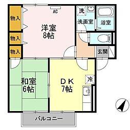 コンフォール小城 B棟[2階]の間取り