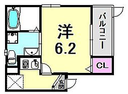ソレイユ東雲 3階1Kの間取り