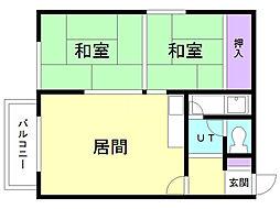 眞島アパート 2階2LDKの間取り