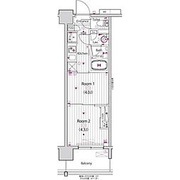 都営新宿線 東大島駅 徒歩15分の賃貸マンション 13階2Kの間取り