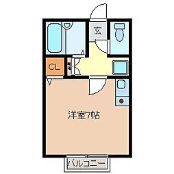 三重県鈴鹿市磯山4丁目の賃貸アパートの間取り