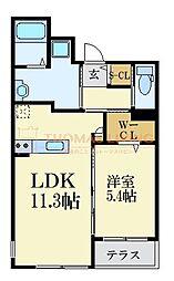西鉄天神大牟田線 西鉄平尾駅 徒歩8分の賃貸マンション 2階1LDKの間取り