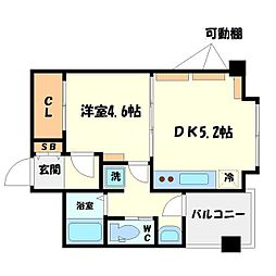 サンライフ堀江 5階1DKの間取り