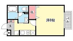 兵庫県神戸市灘区赤坂通6丁目の賃貸アパートの間取り
