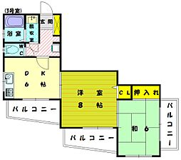 香ハイムP-2[2階]の間取り