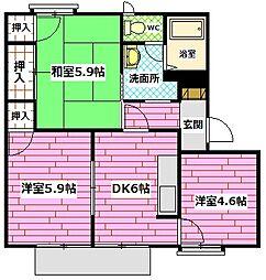 広島県広島市安佐南区山本2丁目の賃貸アパートの間取り