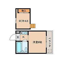奈良県生駒市東菜畑1丁目の賃貸アパートの間取り