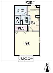 パビヨン春田野 B棟[1階]の間取り