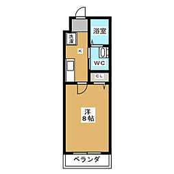 MESA VERDE 紫竹 3階1Kの間取り