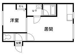 円山アパート 3階1LDKの間取り