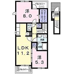 愛媛県松山市余戸東1丁目の賃貸アパートの間取り