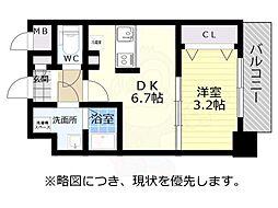 神戸市西神・山手線 新長田駅 徒歩2分の賃貸マンション 3階1DKの間取り