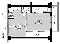 ビレッジハウス河内第二2号棟2階Fの間取り画像