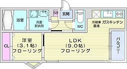 REGALEST小田原 1階1LDKの間取り