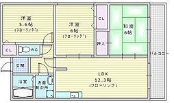 ハイツ桃山2 3階3LDKの間取り