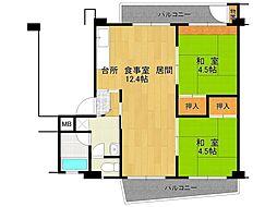 UR逆瀬川住宅[20-201号室]の間取り