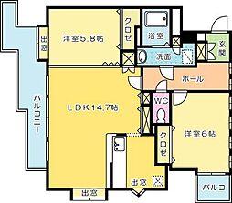 ニューサンリバー12番館[10階]の間取り