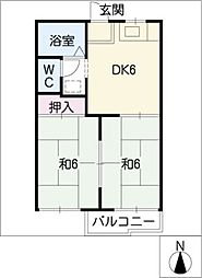 西津第1コーポ[1階]の間取り