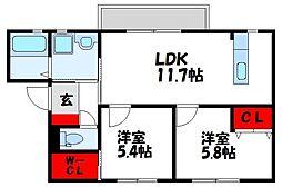福岡県遠賀郡遠賀町大字広渡の賃貸アパートの間取り