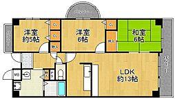 兵庫県伊丹市大野2丁目の賃貸マンションの間取り