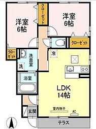 愛媛県松山市西石井2丁目の賃貸アパートの間取り