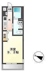 JR常磐線 牛久駅 徒歩3分の賃貸アパート 2階1Kの間取り