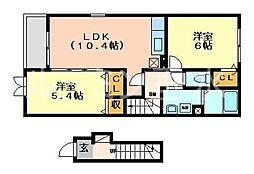 兵庫県西脇市上野の賃貸アパートの間取り