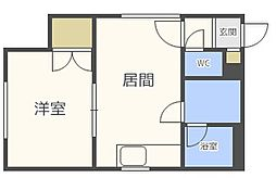 北海道札幌市中央区南六条西21丁目の賃貸マンションの間取り