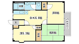 兵庫県加西市北条町古坂の賃貸マンションの間取り
