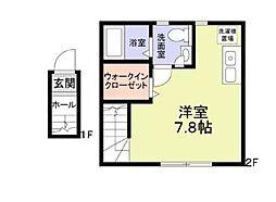 JR南武線 西国立駅 徒歩8分の賃貸アパート 1階ワンルームの間取り