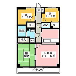 ピュア トーカイ[4階]の間取り