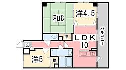 兵庫県姫路市手柄1丁目の賃貸マンションの間取り