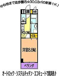 ミルエトワール 4階1Kの間取り