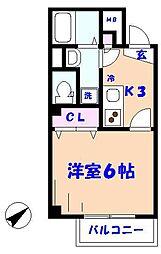 ELVITA MOTOYAWATA(エルヴィータ モトヤワタ) 1階1Kの間取り