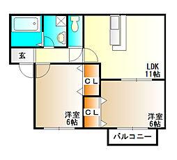 カーサフェリーチェII[2階]の間取り