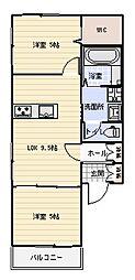 徳島県板野郡北島町中村字東堤ノ内の賃貸アパートの間取り