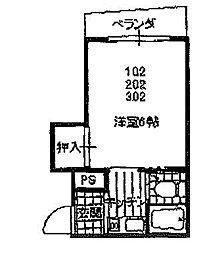 大阪府東大阪市高井田元町2丁目の賃貸マンションの間取り
